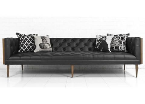 Mid-Century Sofa in Black Faux Leather | Best leather sofa ...
