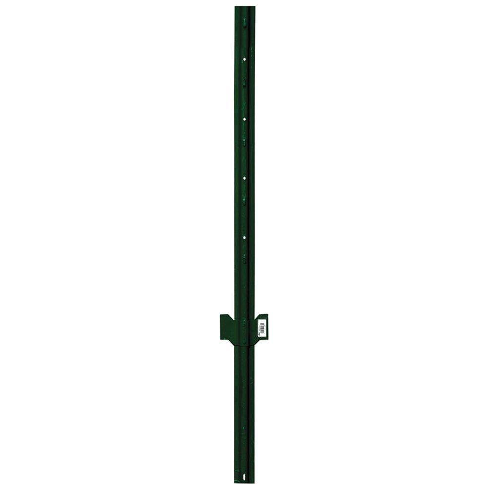 HDX 4 ft. Lite Duty U-Post 14-Gauge Steel with Green Powder Coat Finish-901154HD - The Home Depot