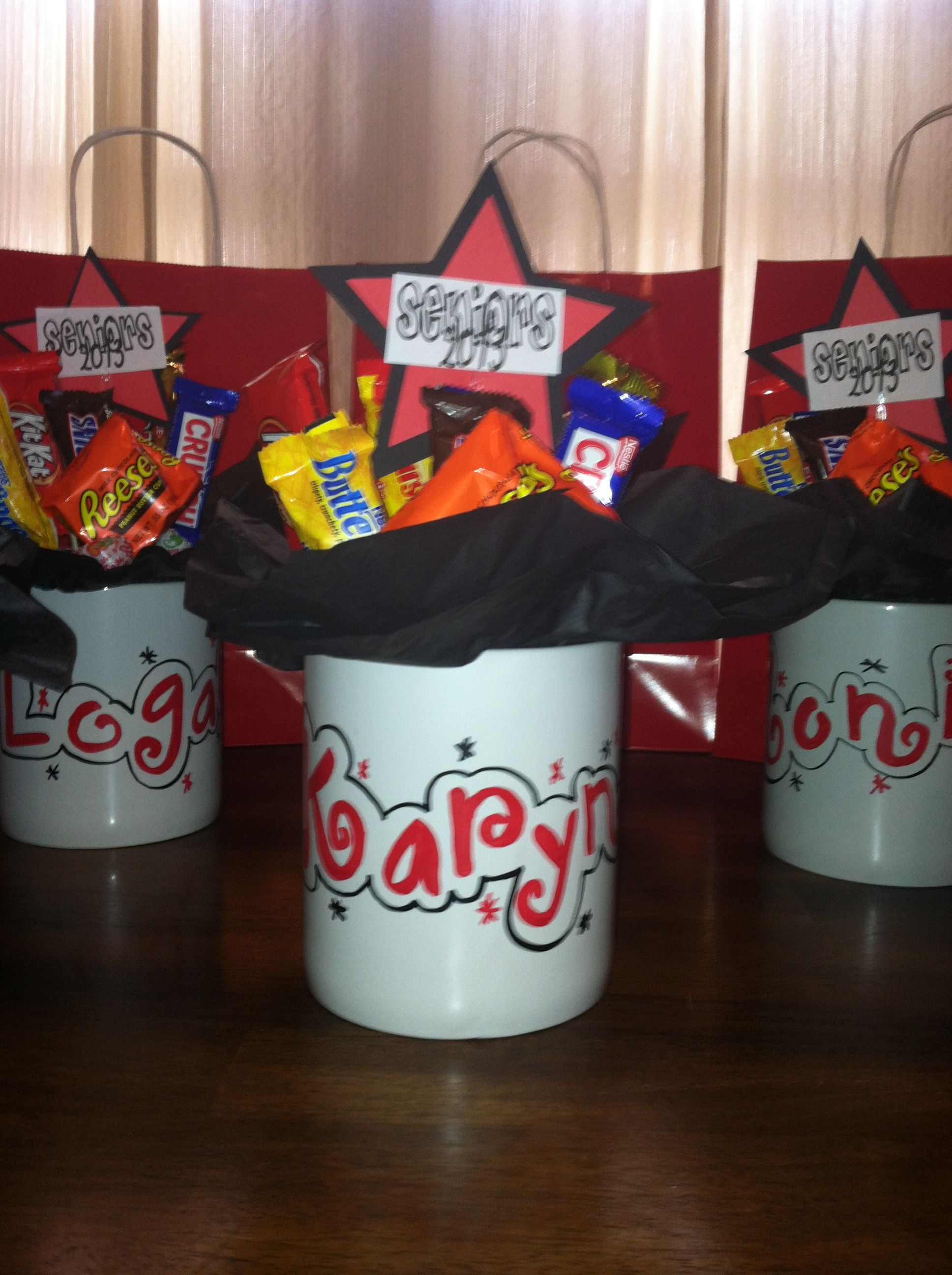 Personalized candy bouquet mugs for high school senior gift idea ...