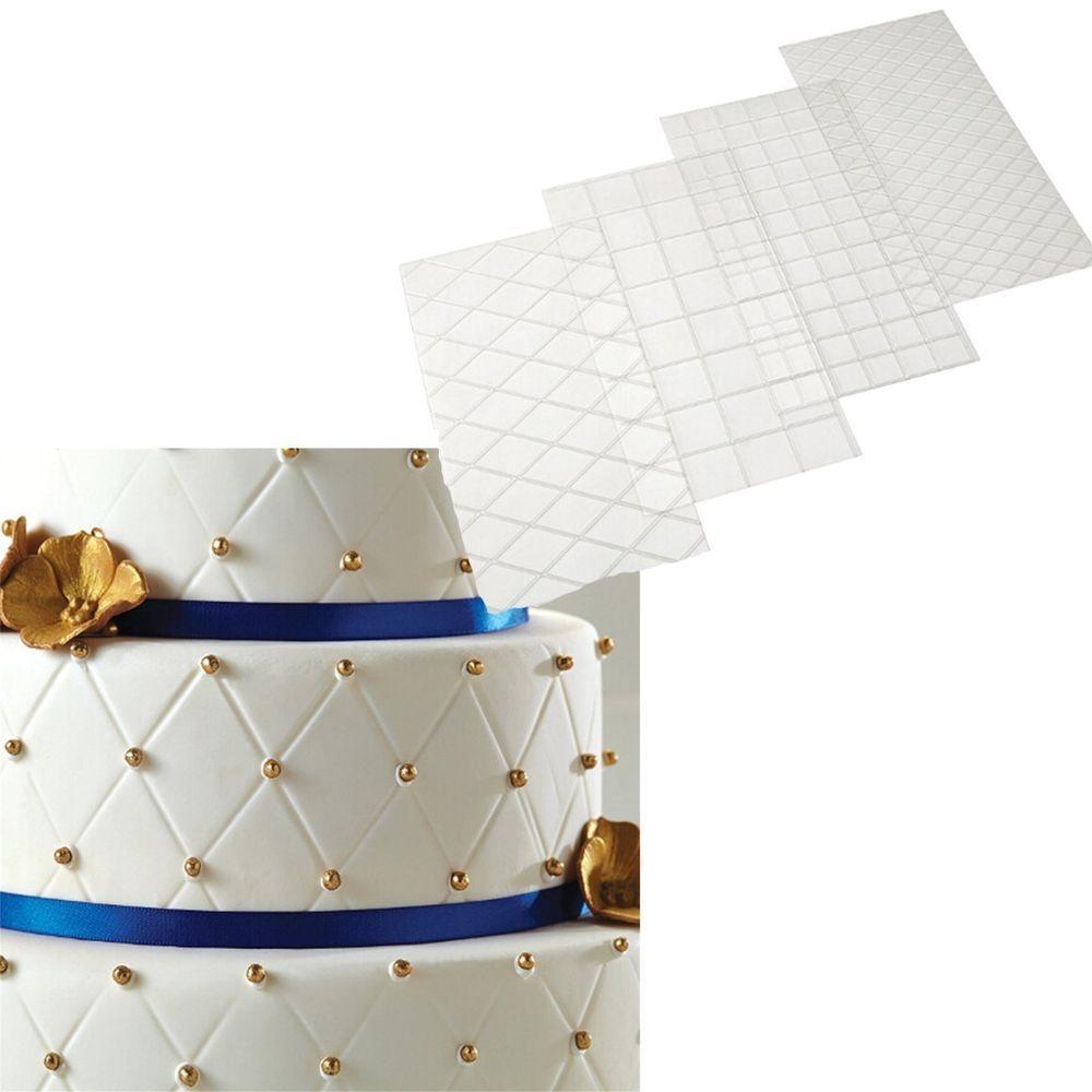 4x Fondant Impression Mat Mould Diamond Quilted Grid Texture Embossed Design Home Garden Kitchen Dining Bar Ba Fondant Diamond Quilt Cake Decorating
