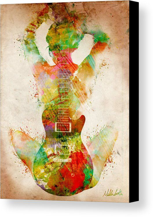 Guitar Canvas Print featuring the digital art Guitar Siren by Nikki ...
