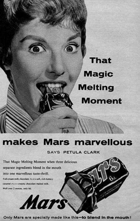 Petula Clark enjoys a Mars Bar | Petula clark, Vintage candy, Vintage  advertisements