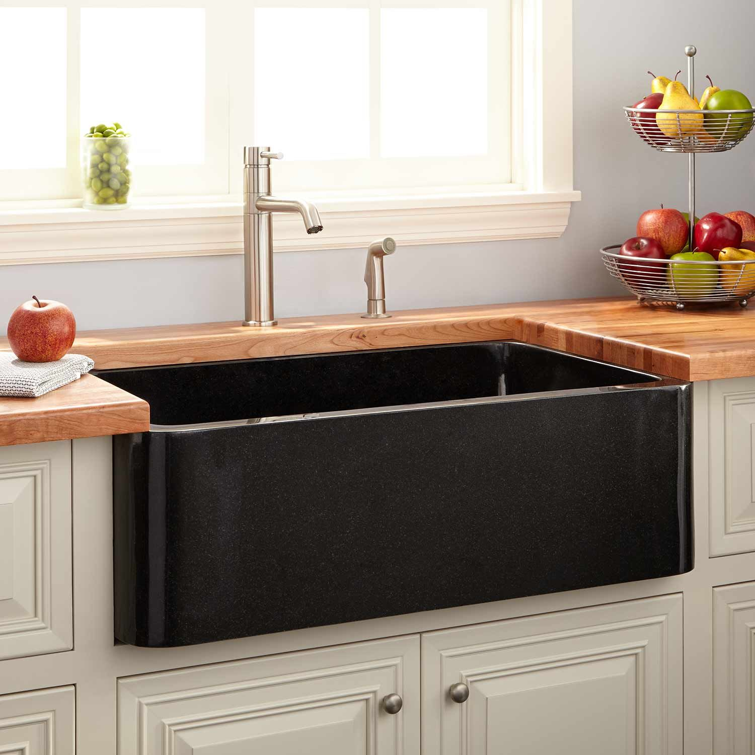 33 Grigham Reversible Fireclay Farmhouse Sink In Black Signature Hardware Fireclay Farmhouse Sink Farmhouse Sink Kitchen Black Farmhouse Sink