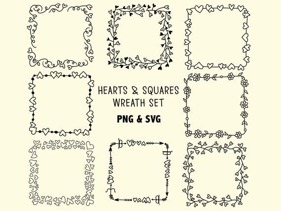 Photo of HEART SQUARE POWERS, hand drawn wreaths, doodle clipart, rustic, drawn wreaths, PNG, SVG, vector wreaths, wedding, laurels