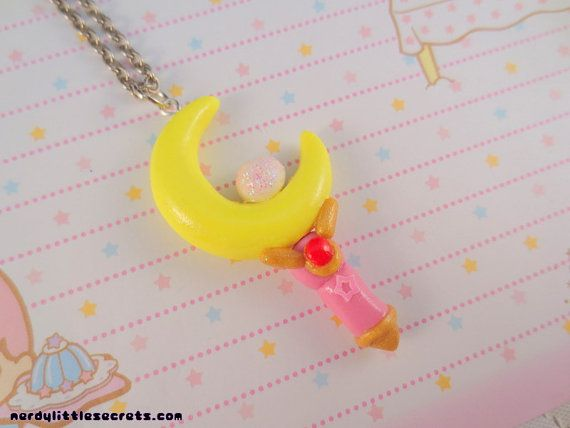 Sailor Moon Crescent Moon Wand Necklace by NerdyLittleSecrets, $12.00