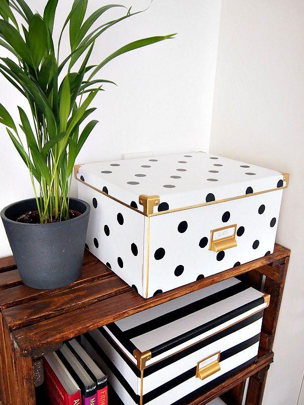 IKEA Hack - Boxen mit schwarz-weiß-Muster | DIY Ideas ...
