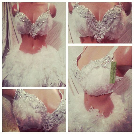 White Feather Rave Bra and Bottoms, Rave Outfit, Outfit for EDC on ...