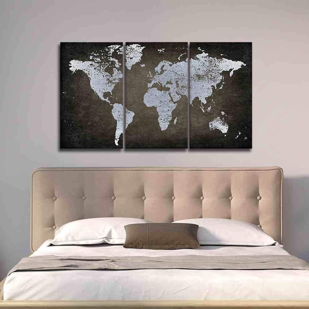 Brown and silver world map brown panel wall art and canvases gumiabroncs Gallery