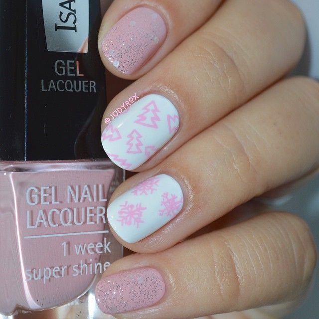 Pink and white winter manicure ===== Nail art supplies store: https ...