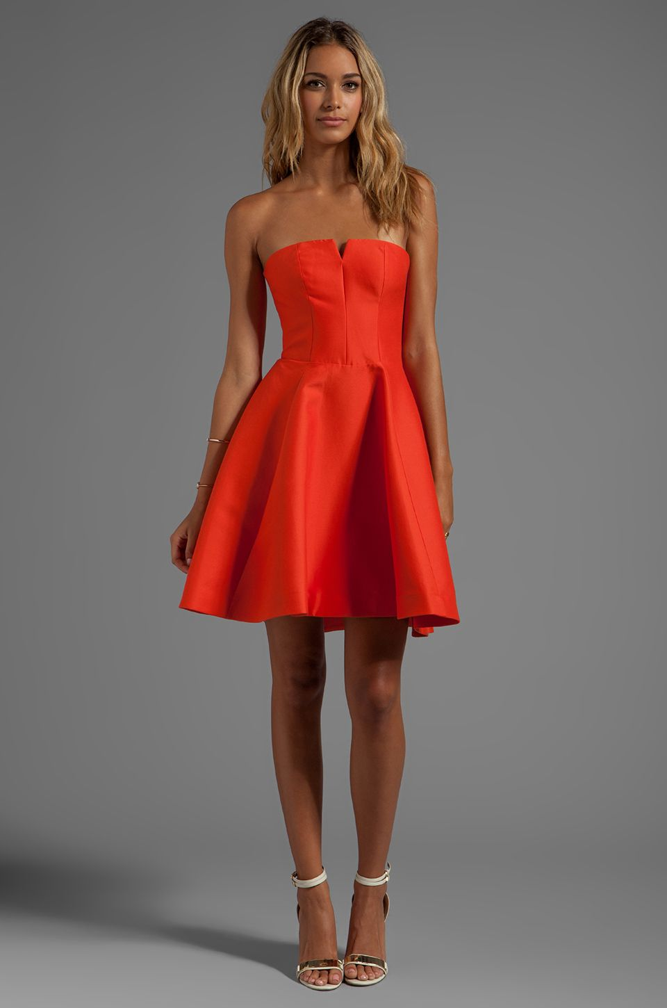 Halston Heritage Strapless Structured Dress With Flare Skirt in ...