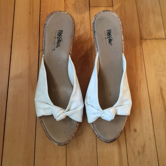 White Cork Wedges Size: 7, cork wedges, tied white detail at toes, has some scuffing but still have some life left in them Shoes