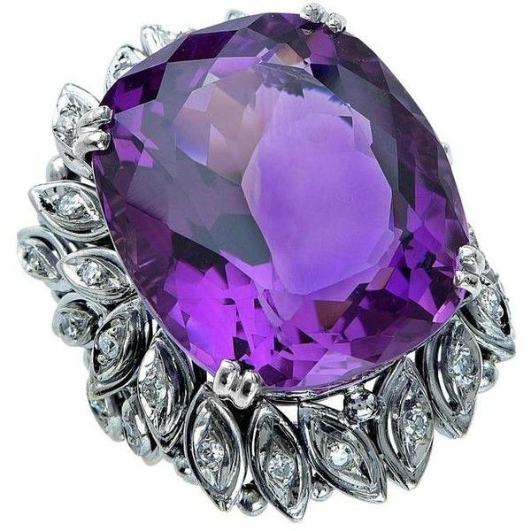 Preowned Amethyst Diamond Gold Ring (43,270 MXN) ❤ liked on Polyvore featuring jewelry, rings, purple, amethyst rings, diamond rings, 18k diamond ring, purple diamond ring and pre owned diamond rings