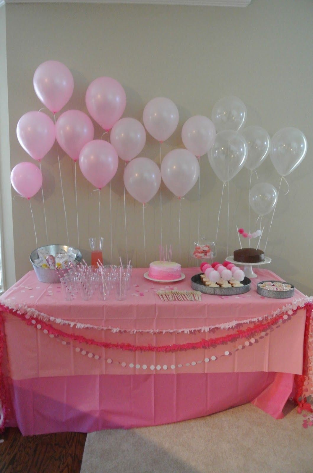 Girls Pink Ombre First Birthday Dessert Table. First