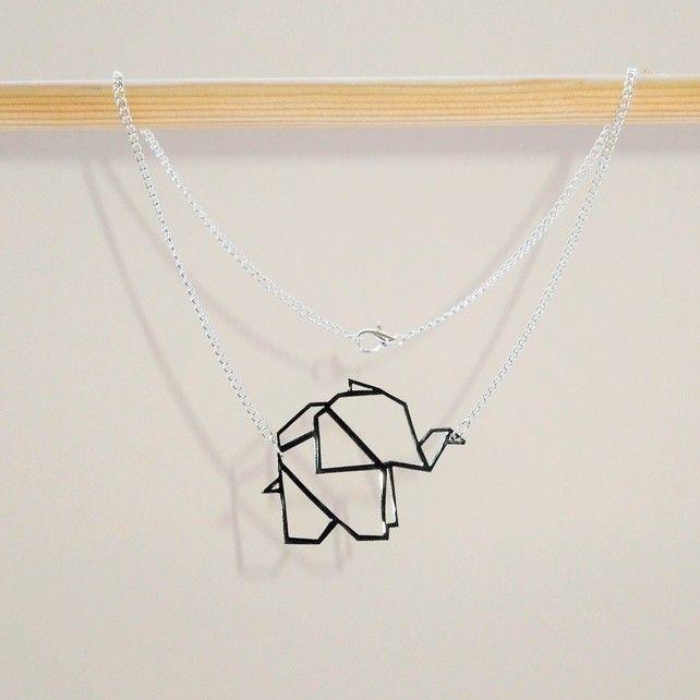 Photo of Baby Origami Elephant Geometric Necklace