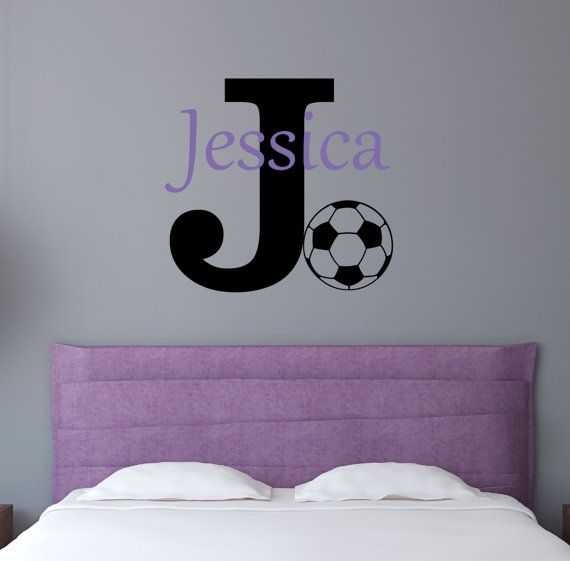 Soccer Name Wall Decal   Sports Nursery Decal   Girls Bedroom Decal    Personalized Teen Wall