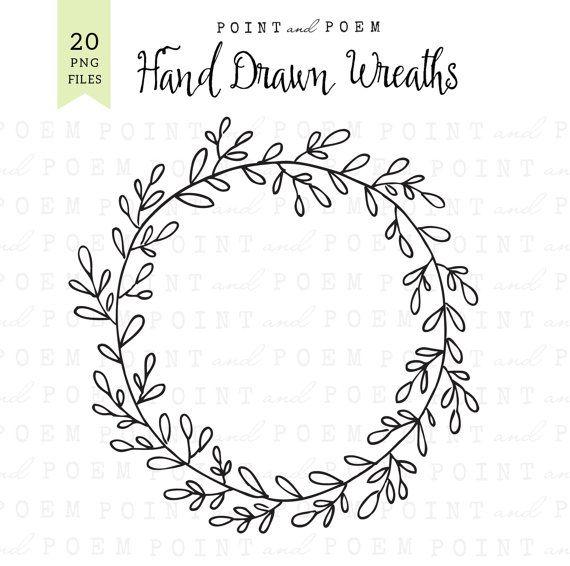 Wreath Clip Art : ''Hand drawn wreath'' chalkboard laurel ...