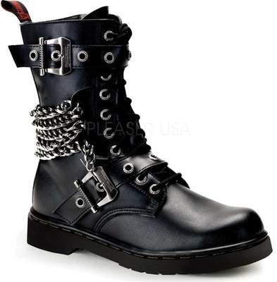 "PLEASER Demonia Bolt-250 1 1//4/"" Heel 10 Eyelet Unisex Mid-Calf Combat Boot"