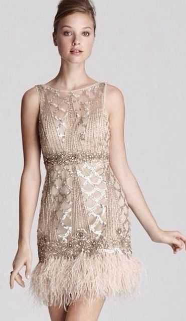 Love This Sue Wong Dress 1920 S Gatsby Esque With Tonal Beading And Ostrich Feather Maybe For The Rehearsal Dinner