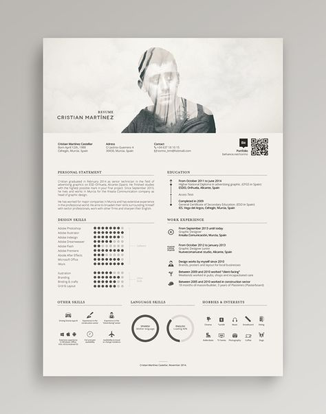 Damn cool resume! He mixed the double exposure for his profile photo