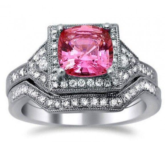 pink diamond wedding rings sets - Pink Diamond Wedding Rings