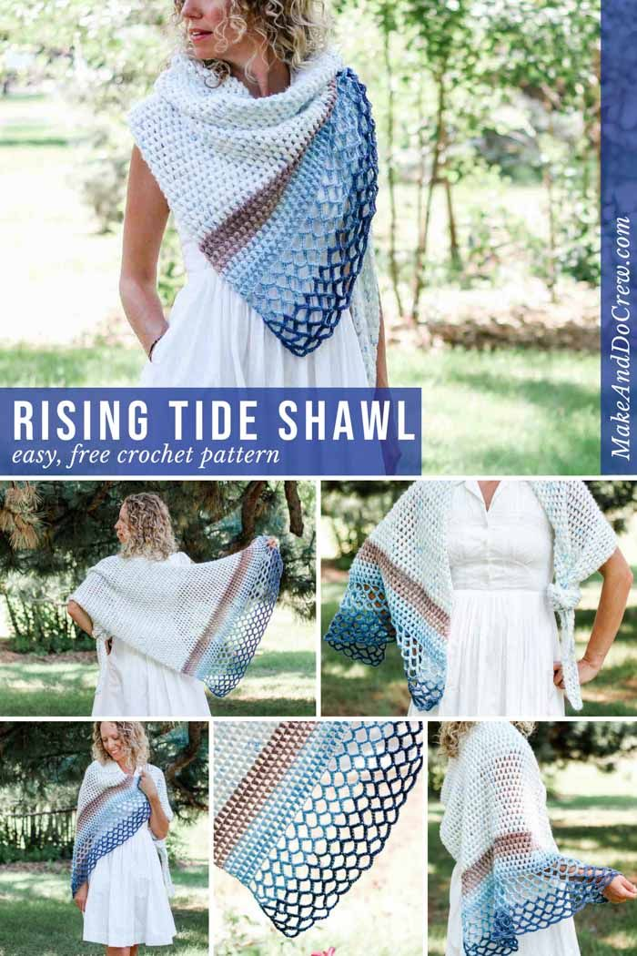 Rising Tide Asymmetrical Crochet Triangle Shawl Free Pattern