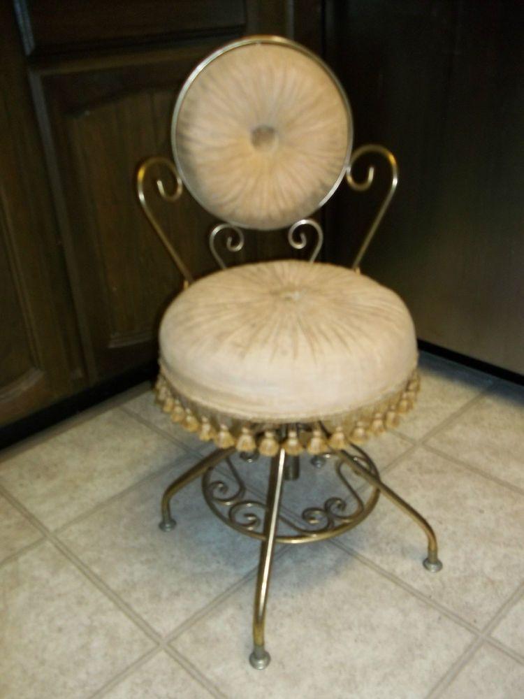 Marvelous Vtg Delta Brass Hollywood Regency Swivel Stool Seat Vanity Andrewgaddart Wooden Chair Designs For Living Room Andrewgaddartcom