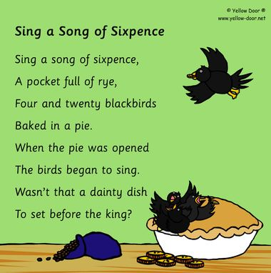 Sing a song of sixpence-nursery rhyme-printable | baby showers ...