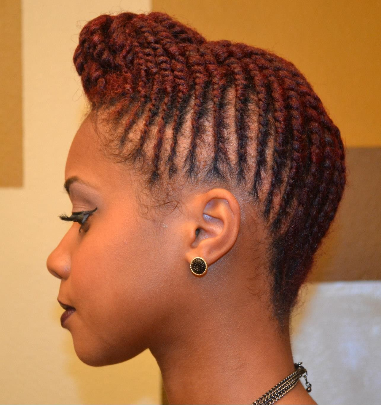 Twisted Pompadour Roll Tuck Pin Updo On Natural Hair