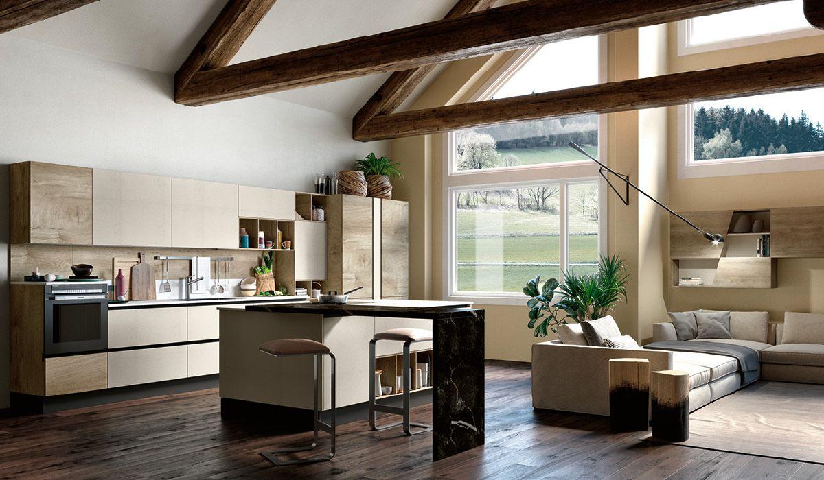 Cocina Americana Con Isla Y Espacio Abierto A Juego Con El Salon En Los Mismo Acaba Diseno De Interiores De Cocina Salon Con Cocina Americana Muebles De Cocina