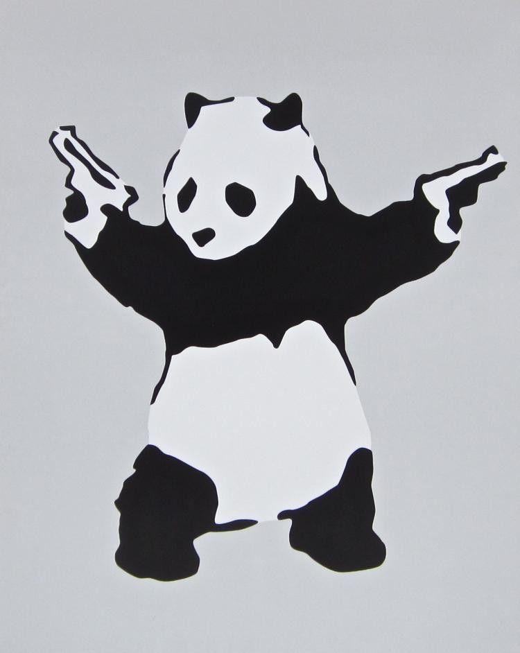 Panda With Guns Offset Lithograph Banksy Human S Art Banksy Art Poster Prints Human Art