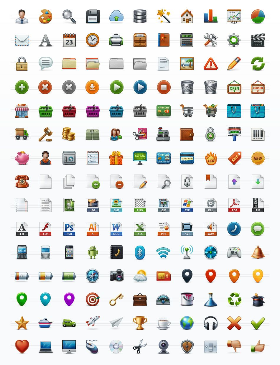 Application Toolbar Icon Set Over 1,000 Unqiue icons for