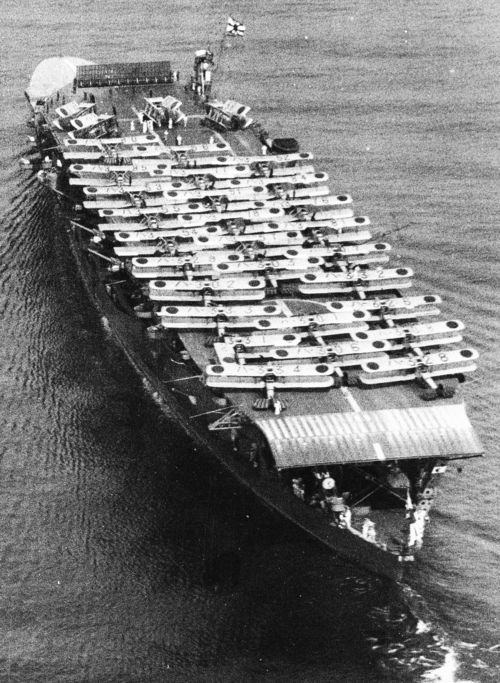Biplanes atop the Imperial Japanese aircraft carrier Akagi. Osaka, 1934.