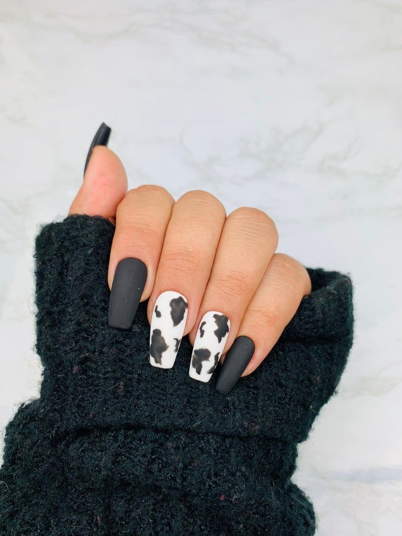 Ready To Ship Cow Print Press On Nails Cow Nails Black Nails Fake Nails White Nails Coffin Nails Stiletto Nails In 2020 Cow Nails Short Acrylic Nails Designs Fake Nails White