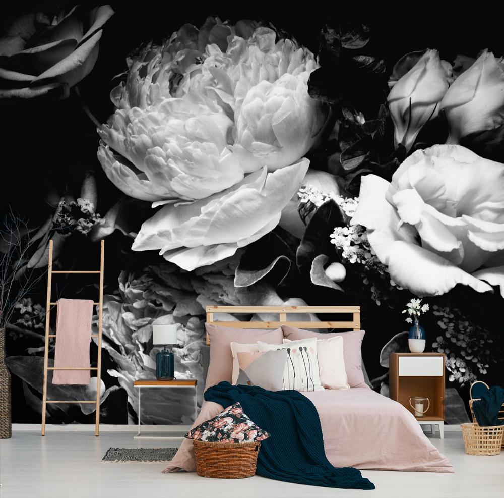 Peony flower wallpaper, self adhesive wall decor, black