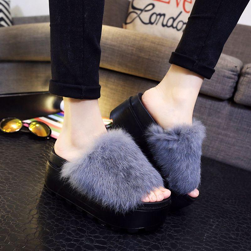 6a3d73bea175f Flip Flops 2016 Autumn Women s Fur Slippers Rabbit Hair Slippers Thick  Bottom Flats Platform Casual Women s