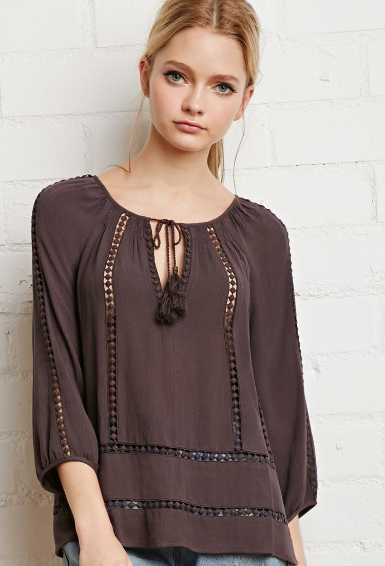 60205cfc482 Dotted Crochet Peasant Blouse | Forever 21 - 2000142740 | Back to ...