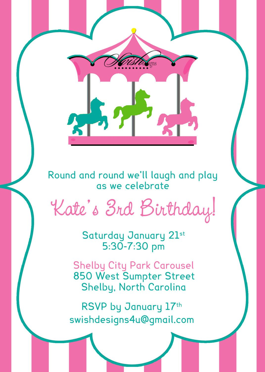 carousel birthday invitation merry go round horse digital girl