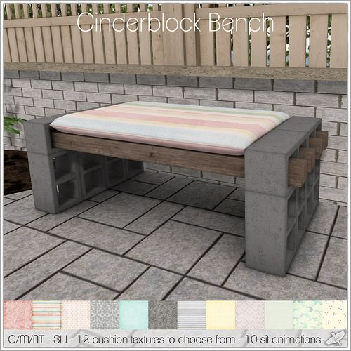 Cinder Block Bench 12 Blocks 4 Beams And An Easy To Make Cushion