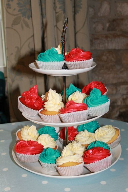 Red, white and blue cupcakes. Jubilee afternoon tea.