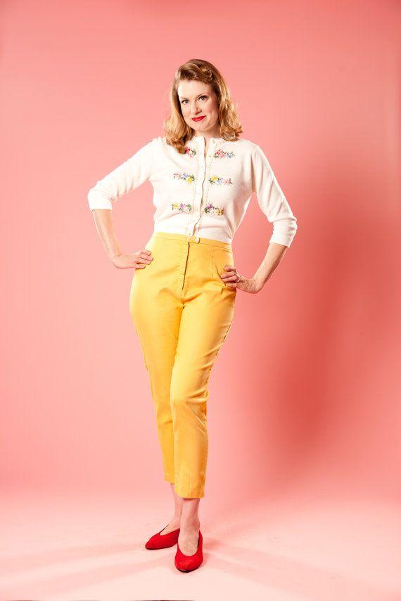 Vintage 1950s Yellow Capri Pants High Waisted Cigarette ...