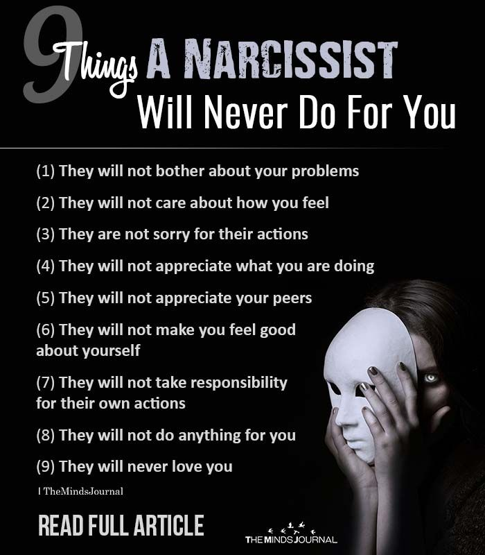 9 Things A Narcissist Will Never Do For You (or An