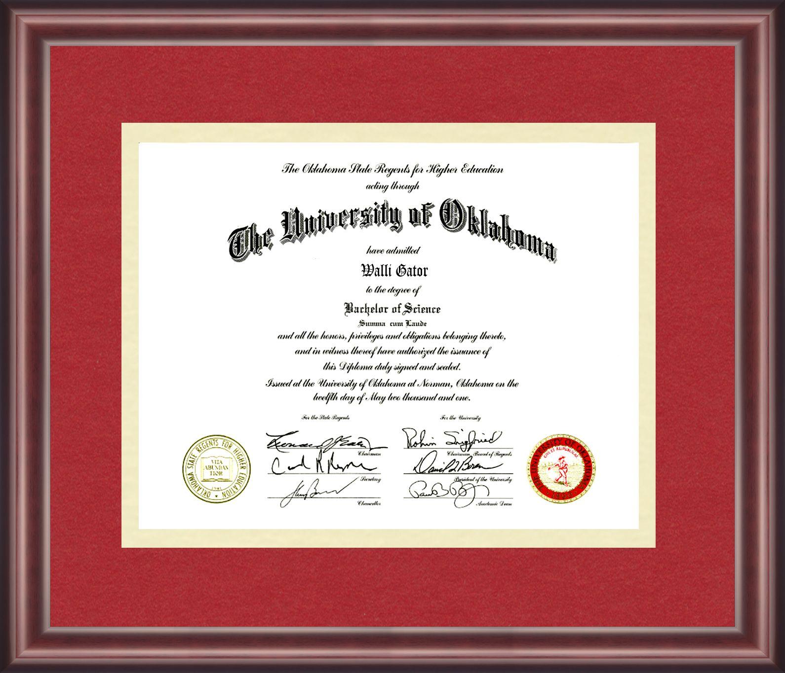 University of Oklahoma Diploma Frame   Diploma Frames   Pinterest