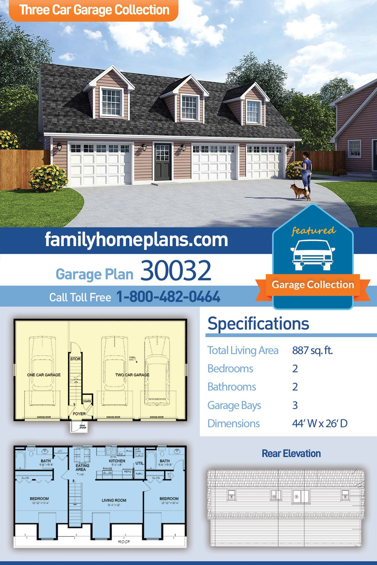 Traditional Style 3 Car Garage Apartment Plan Number 30032 With 2 Bed 2 Bath Carriage House Plans Garage Apartment Plans Garage Apartments