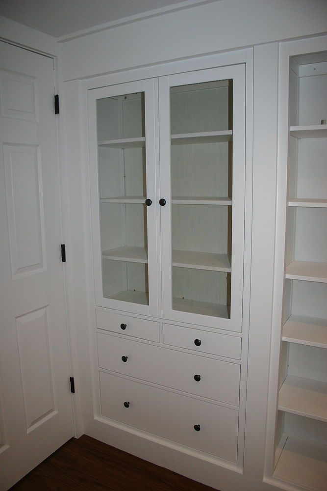 Wall Of Built Ins Out Of Ikea Hemnes Cabinets Ikea Hemnes Cabinet Ikea Furniture Ikea