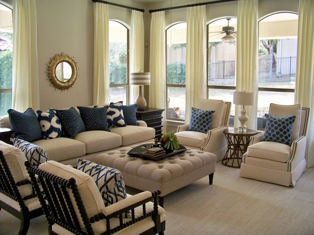Elegant nautical furniture decor with white off curtains for White living room furniture ideas