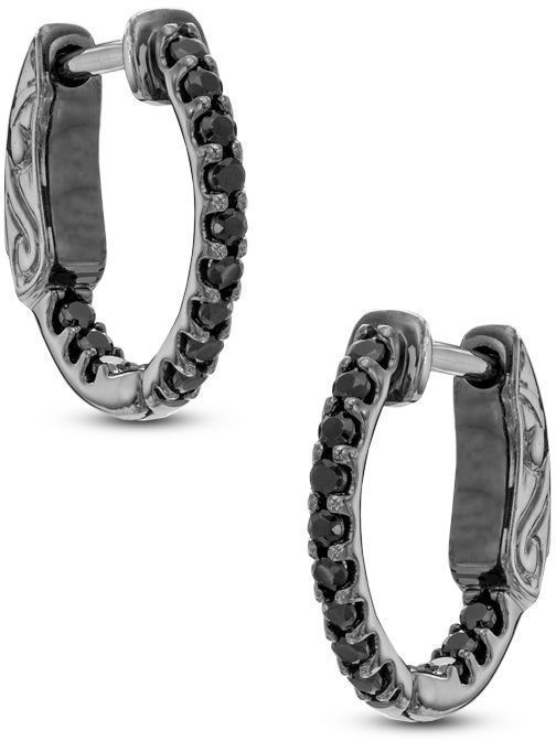 Zales 1 4 Ct T W Enhanced Black Diamond Huggie Hoop Earrings In Sterling Silver