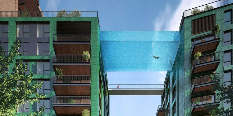 London Highrise Features Glass Sky Pool Suspended Between Buildings Sky Pool Glass Bottom Pool Glass Pool