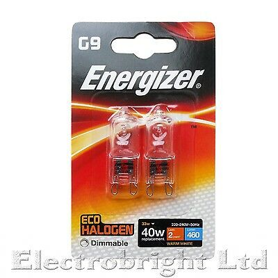ENERGIZER Twin Pack G9 LED FILAMENT 2W=20W WARM WHITE CAPSULE LAMPS LIGHT BULBS