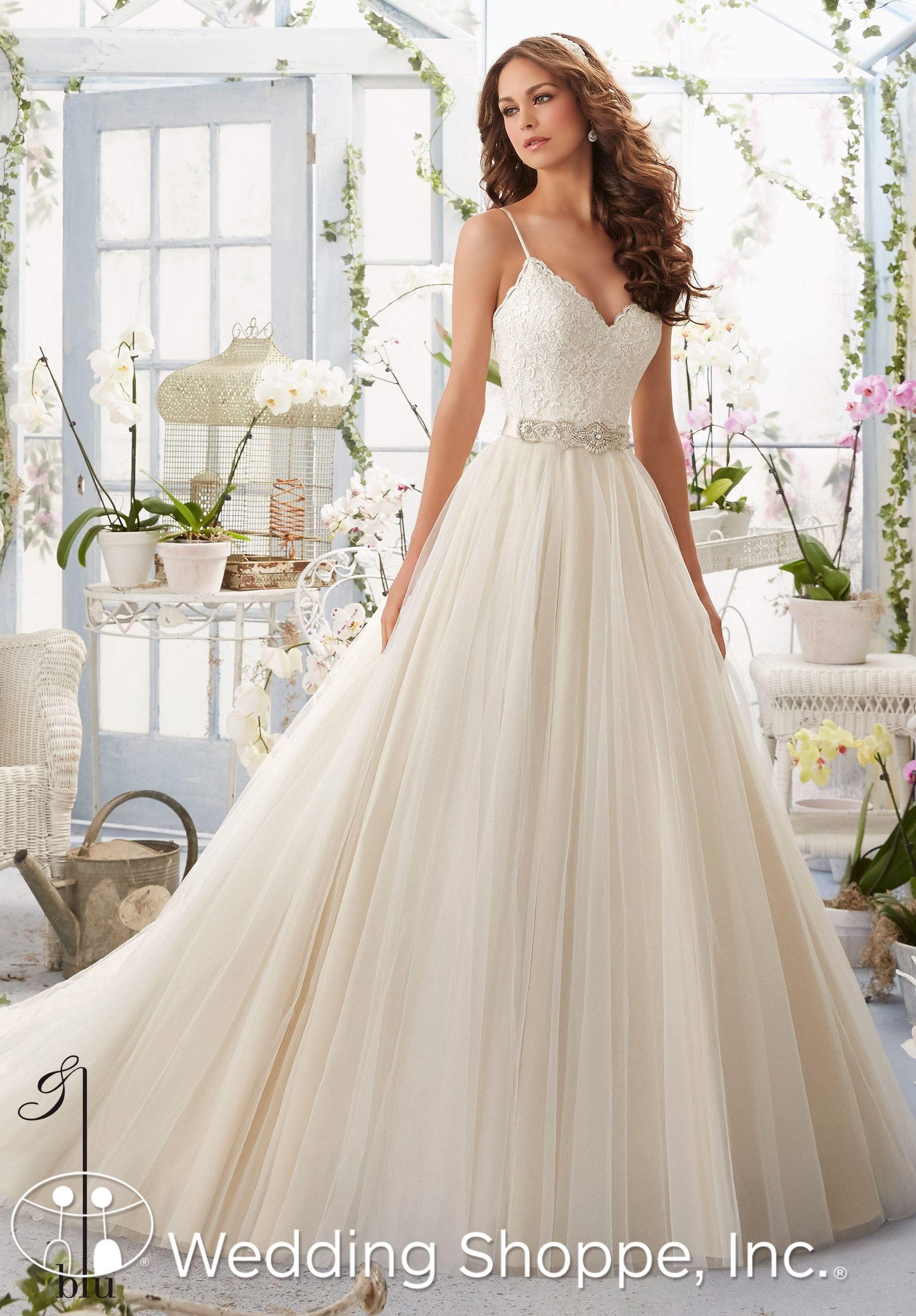 Mori lee gold wedding dress  A romantic lace and tulle wedding dress with beaded belt  Wedding