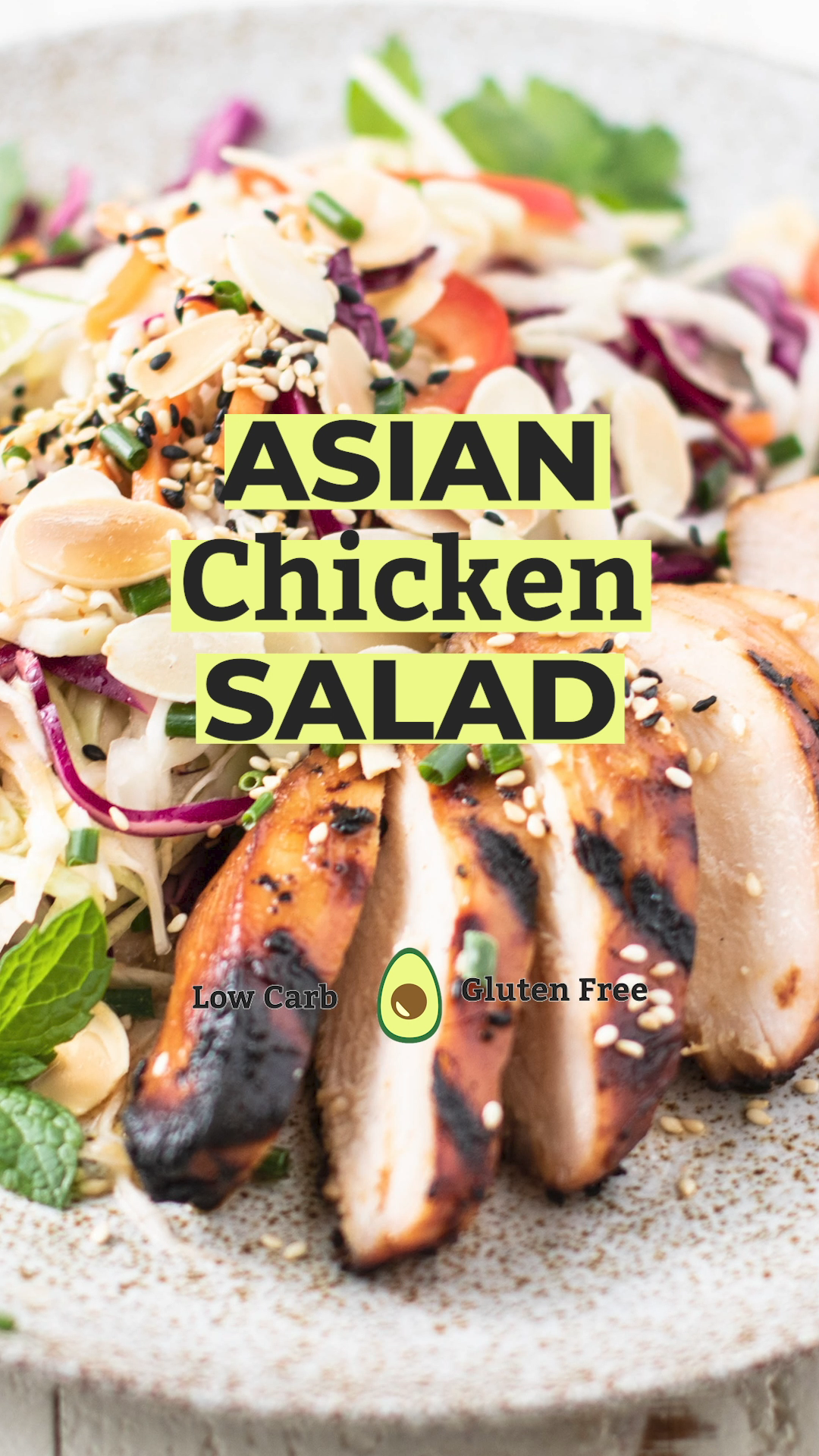 Keto Asian Chicken Salad A crunchy cabbage salad made with grilled marinated chicken and almonds The best asian cabbage salad dressing  BLISSFULLYLOWCARBCOM